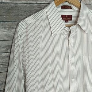 Nordstrom Dress Shirt Maroon White Size 17.5 - 34